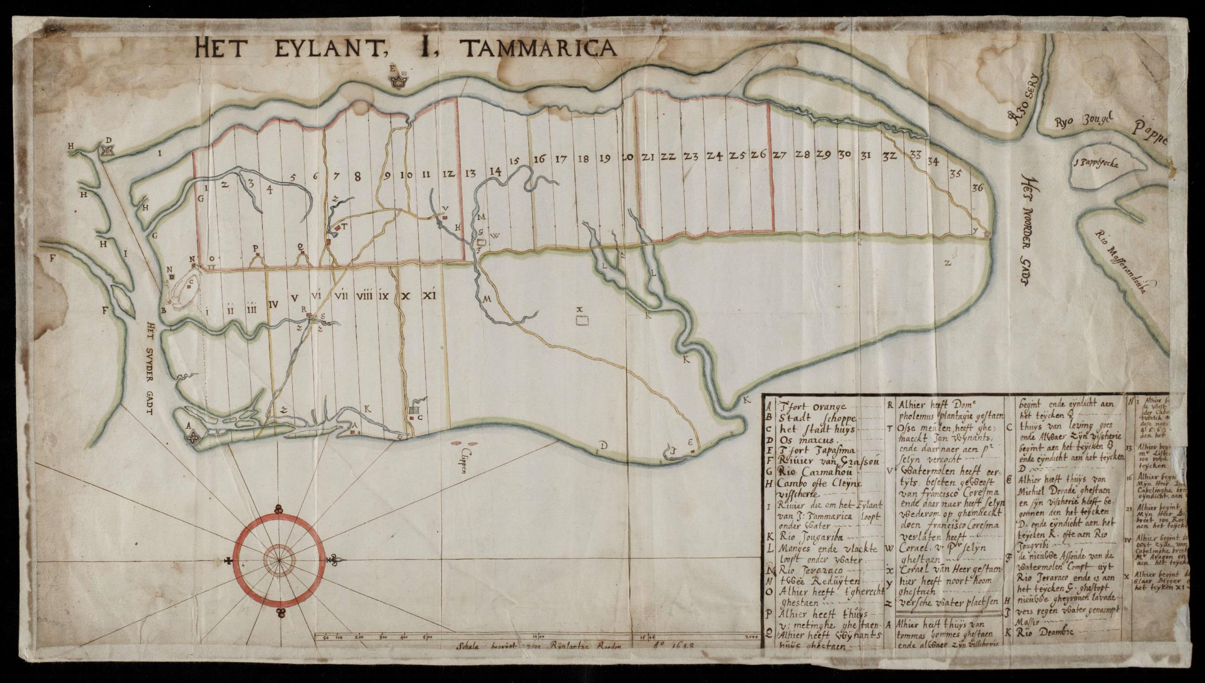 Map is of Itamaracá in 1647 when Margarietja was 5 years old