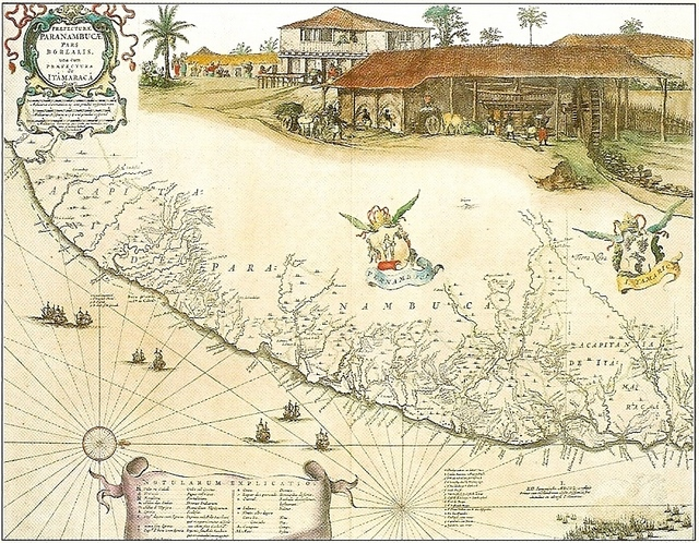 George Marcgraf. Map of Pernambuco including Itamaracá, 1643. Ricardo Brennand Institute collection, Recife, Brazil.