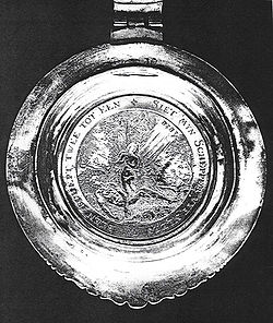 Medallion given to Sarah Rapelje on occasion of her marriage to Hans Hansen Bergen, 1639.