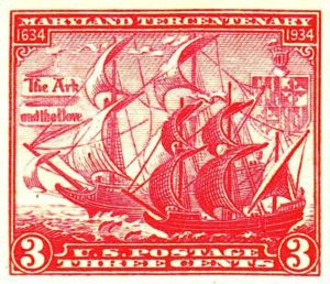 "Ark"" and the ""Dove"", in a 1934 U.S. postage stamp."