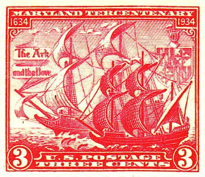 The Ark and the Dove, in a 1934 U.S. postage stamp, commemorating the founding of Maryland in 1634.